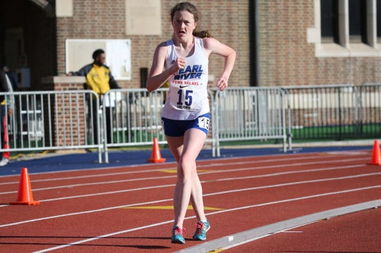 Pearl River's Ciara Durcan en route to winning the 2019  Penn Relays girls high school 5,000-meter racewalk.