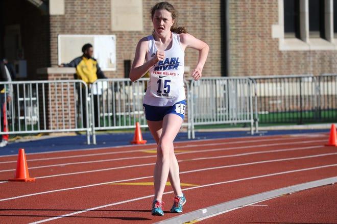 Pearl River's Ciara Durcan en route to winning the 2019  Penn Relays girls high school 5,000-meter racewalk.