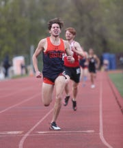 Horace Greeley's Max Notarnicola wins a heat in the boys 800-meter run at the Gold Rush Invitational track & field meet at Clarkstown South High School in West Nyack on Saturday, April 27, 2019.