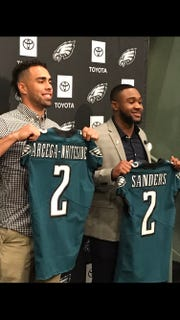 Eagles draft picks J.J. Arcega-Whiteside, left, and Miles Sanders are expected to play a prominent role on the team in 2020 and beyond.