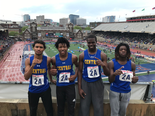 Sussex Central's 4-x-100-meter relay team of Andre Teagle, Dom Smith, Dom Saragino and Mahki Herring at the Penn Relays.
