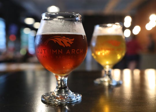Autumn Arch Brew Project's Brexistential Bitter (left) and In Medias IPA beers - two of about eight beers currently on tap at the Glasgow brewery.