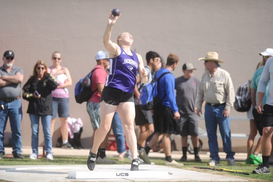 Jacksboro's Baylee Thompson won the Region I-3A shot put title on Friday.