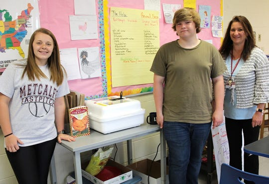 In this Thursday, April 11, 2019 photo, Metcalfe County High School senior Madi Froedge, from left, sophomore Eli Walker and agriculture teacher Lynn Hawkins pose for a portrait next to an incubator at MCHS in Edmonton, Ky. Students in Hawkins' agriculture class have been incubating chicken eggs for a local farmer.