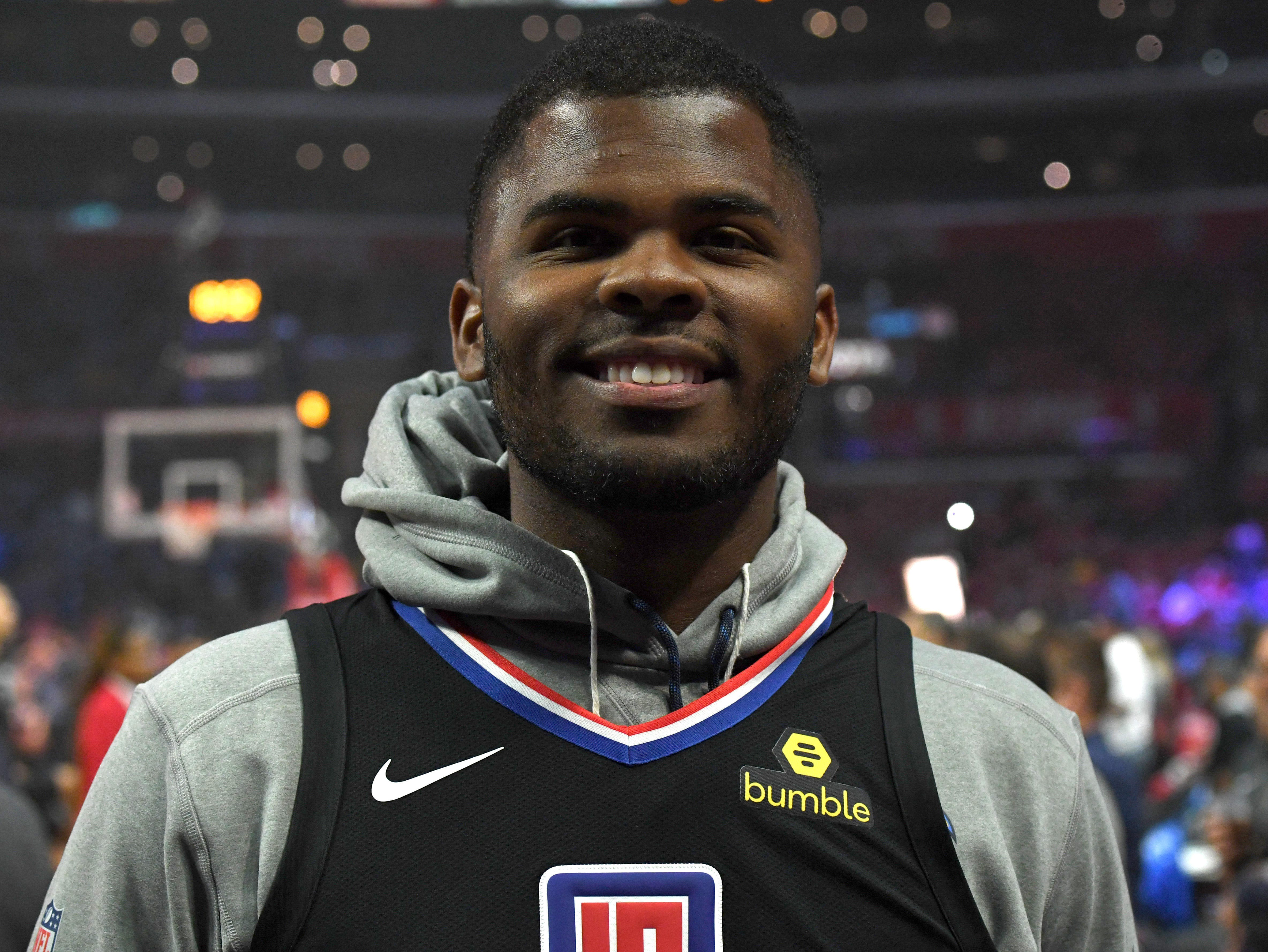 April 26: Jerry Tillery, drafted 28th overall by the Los Angeles Chargers, attends Game 6 between the Warriors and Clippers at Staples Center.