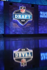 A general view of the main stage during the 2019 NFL draft in Nashville, Tennessee.