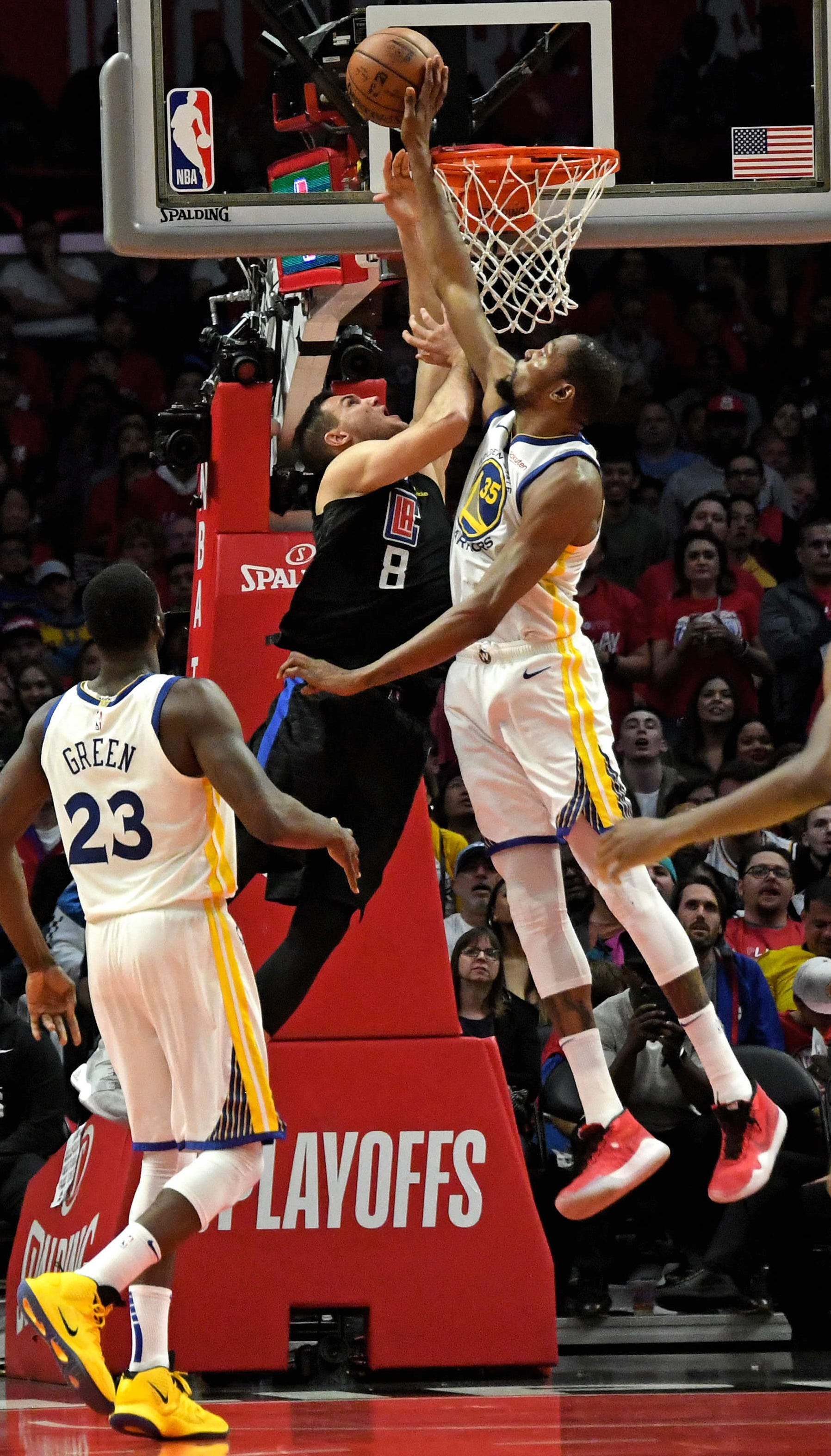 April 26: The Golden State Warriors' Kevin Durant blocks the shot from the LA Clippers' Danilo Gallinari at the net during Game 6 at Staples Center. The Warriors defeated the Clippers 129-110 to win the series 4-2.