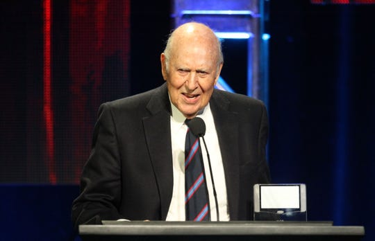 "In this 2011 photo, Carl Reiner accepted the Television Critics Association's Heritage Award for ""The Dick Van Dyke Show,"" a comedy series he wrote and produced."