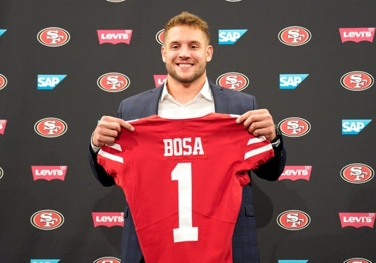 San Francisco 49ers first-round pick Nick Bosa poses with his jersey during an NFL football news conference, Friday, April 26, 2019, in Santa Clara, Calif. (AP Photo/Tony Avelar ) ORG XMIT: CATA105