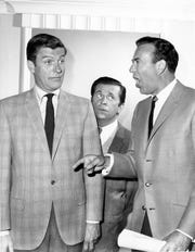 "Vain TV host Alan Brady (Carl Reiner), right, is a demanding boss for comedy writers Rob Petrie (Dick Van Dyke), left, and Buddy Sorrell (Morey Amsterdam) on ""The Dick Van Dyke Show,"" a popular comedy series from the 1960s."