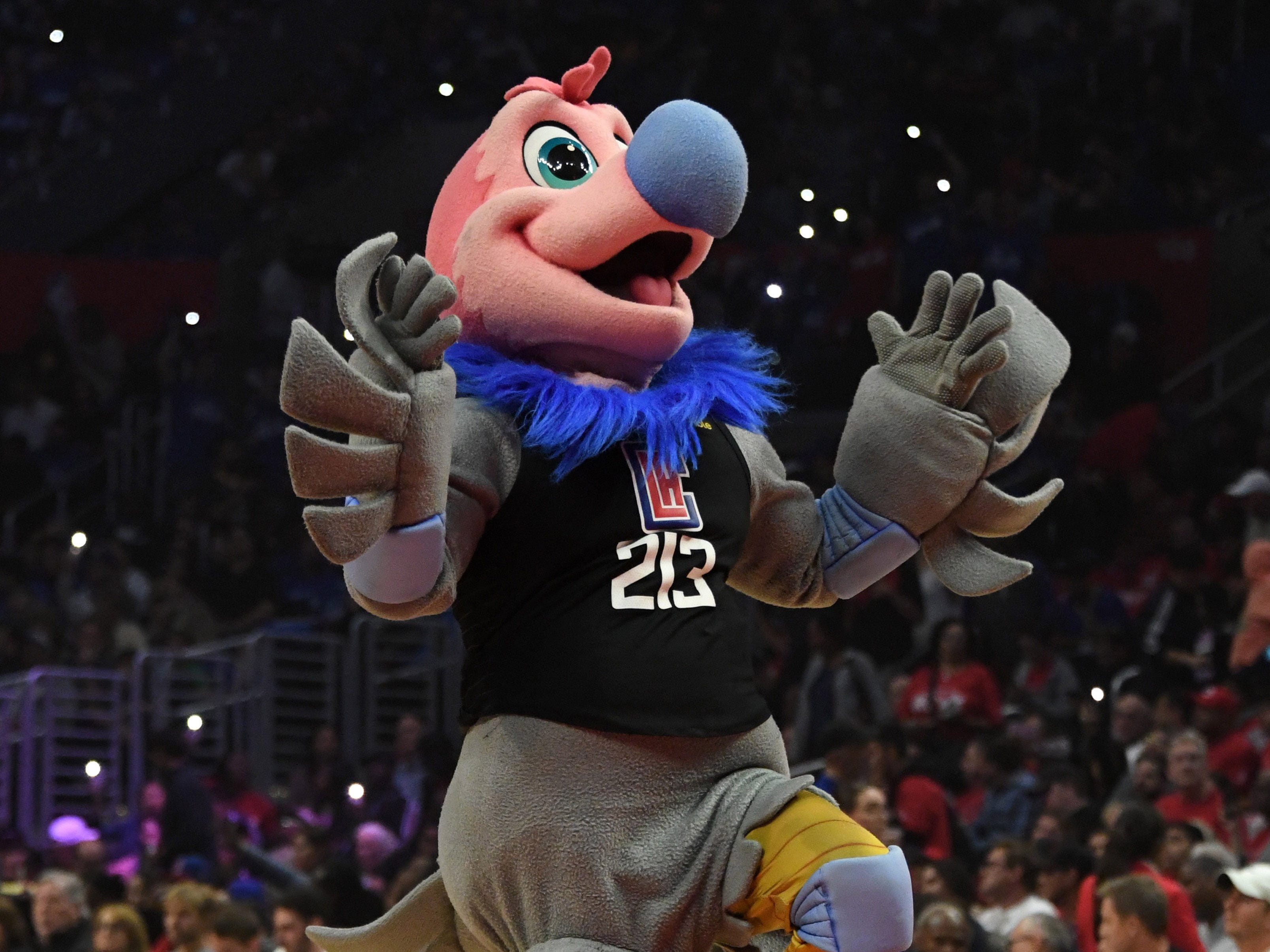 April 26: Clippers mascot Chuck the Condor during Game 6 against the Warriors.