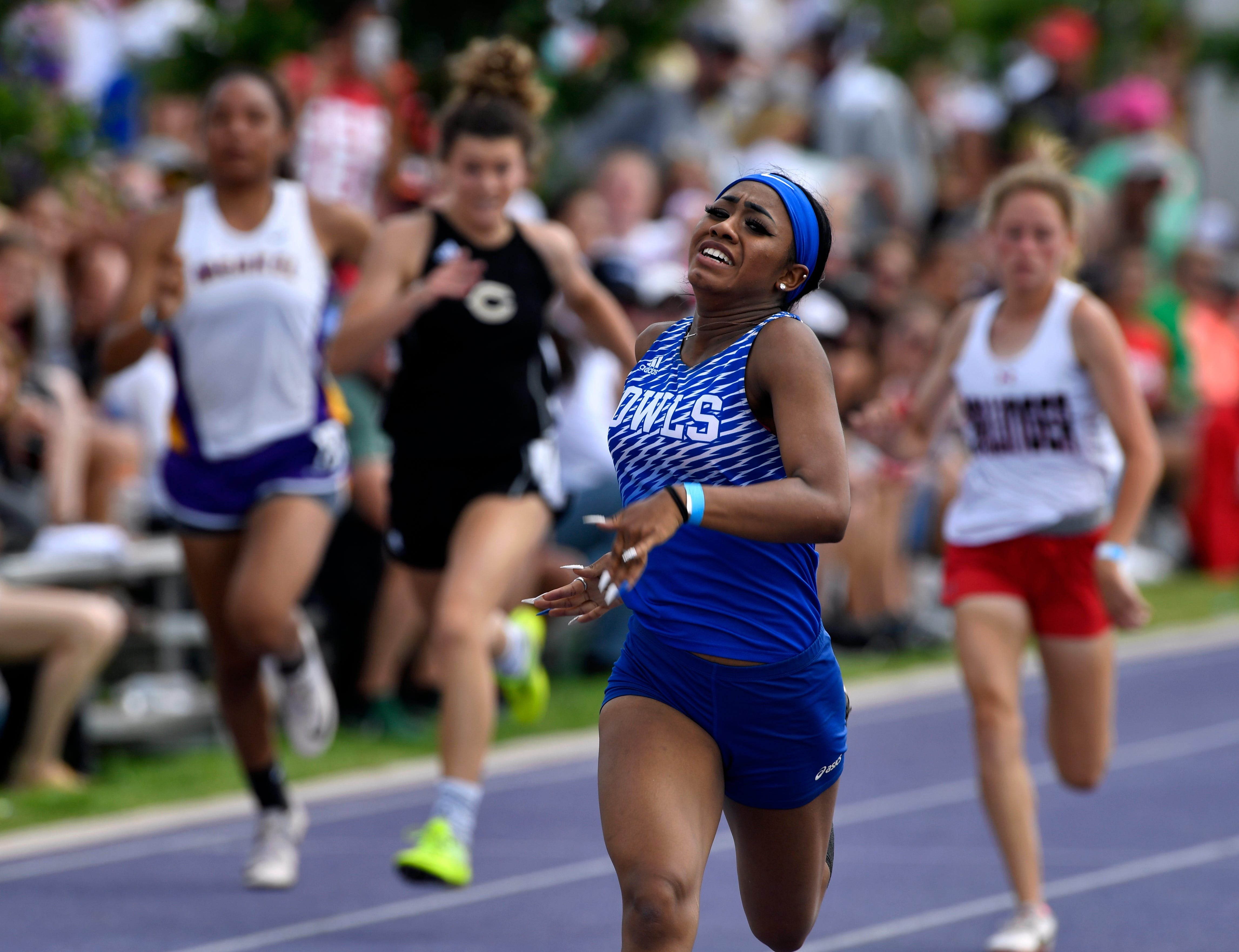 Jayslynn Reyes of Reagan County wins her prelims heat in the girls 200-meter dash during Saturday's Region 1-3A track meet at Abilene Christian University April 27, 2019. Reyes ended up second in the finals but both she and Littlefield's D'Anna Smith broke a regional record from 1984.