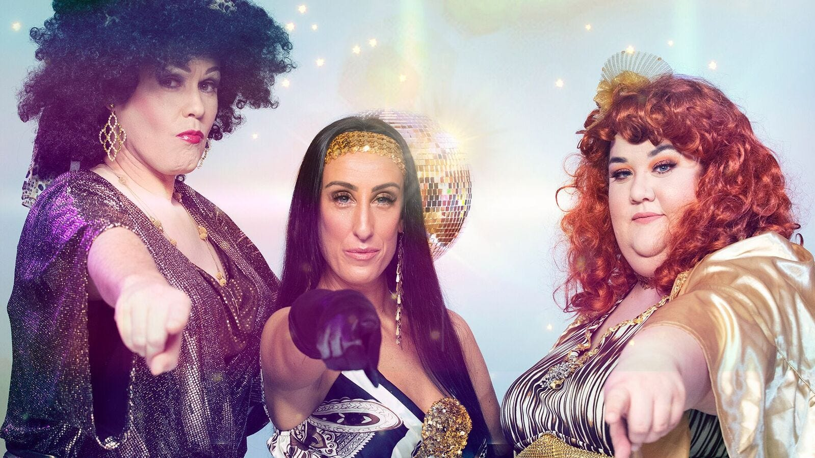 Donna and the Dynamos: Tanya (Ryan McCabe, from left), Donna (Olivia Lee) and Rosie (Michelle Abad).