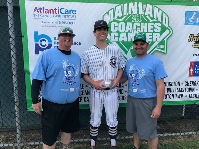 St. Augustine's Cole Vanderslice, center, was the MVP of the Hermits 3-0 victory over Gloucester Catholic at the Coaches vs. Cancer Classic at Mainland on Sunday. Vanderslice won a Mike Trout autographed baseball for his effort.