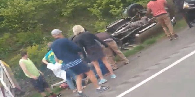 Two females were taken to University of Cincinnati Medical Center from this rollover crash on Interstate 71/75 in Walton Saturday night, according to the Boone County Sheriff's Office.