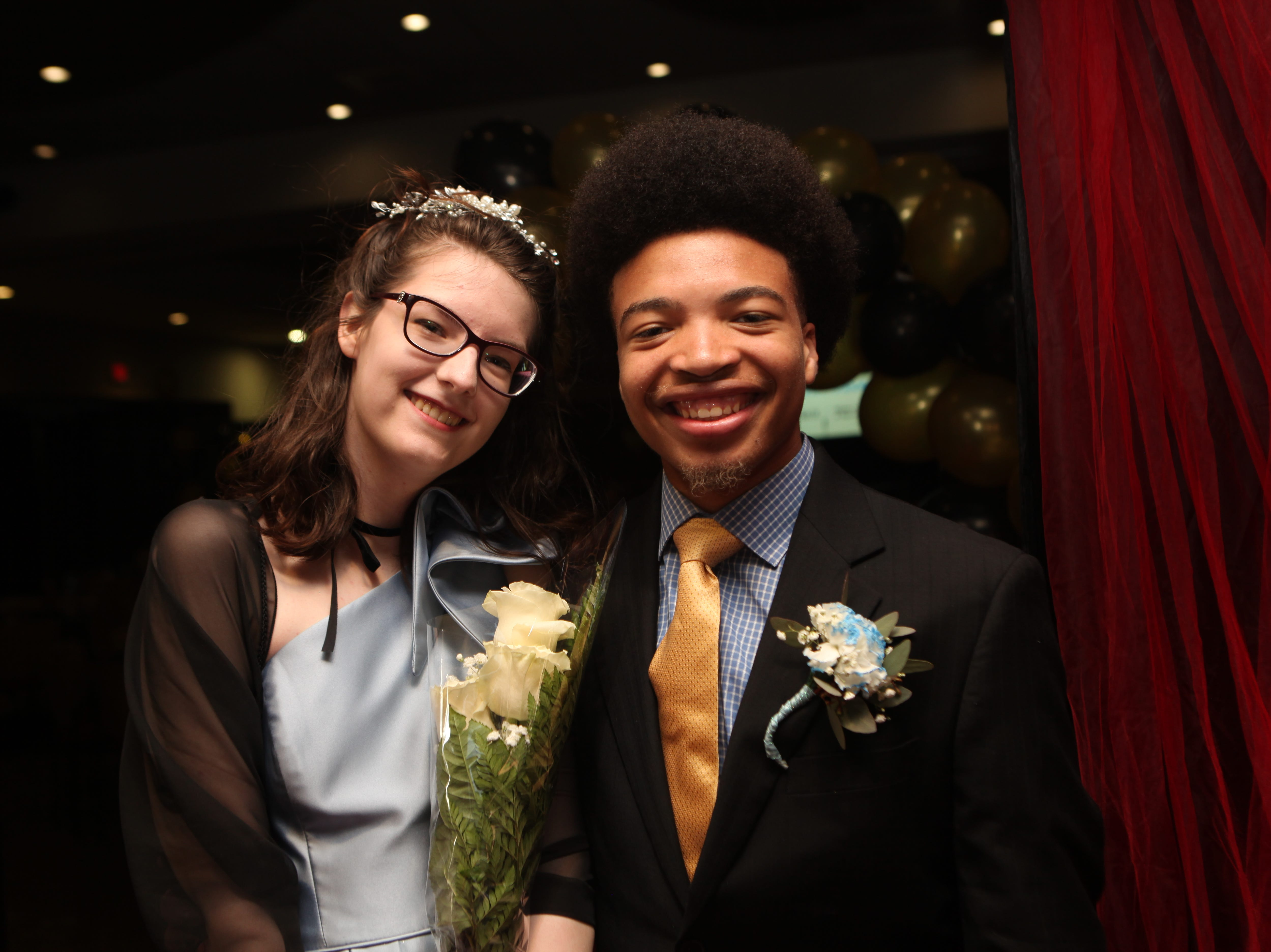 Cheyanne Turner and Darrius Stubbs at the Middle College 2019 prom at the APSU Ballroom on Friday, April 26, 2019.