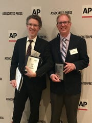 Chris Smith and Jimmy Settle of The Leaf-Chronicle at the Tennessee AP awards at the Nashville Marriott at Vanderbilt on Saturday, April 27, 2019.