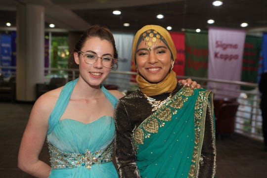 Elizabeth Shangraw and Diwa Ahmadzia at the Middle College 2019 prom at the APSU Ballroom on Friday, April 26, 2019.