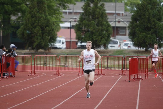 APSU track team member Nash Young finished first in the 5K in just under 17 minutes at the annual Queen City Road Race on Saturday, April 27, 2019.
