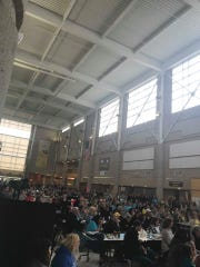 The crowd for Mackenzy Larson's celebration of life ceremony filled most of the large commons space in Southeast Polk High School on Saturday, April 27, 2019. Larson has battled cancer since she was 11 years old and, now 17, was recently given a terminal diagnosis.
