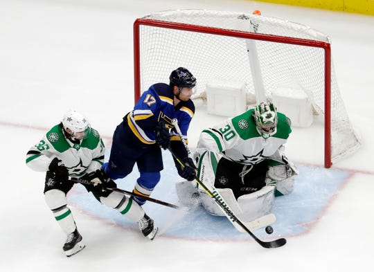 The St. Louis Blues' Jaden Schwartz  scores past Dallas Stars goaltender Ben Bishop during the third period.