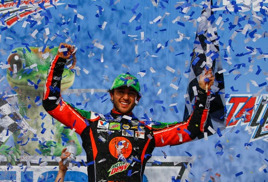 Chase Elliott celebrates after winning at Talladega Superspeedway on Sunday.