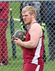 Zach Elliott of Odessa-Montour competes in the discus at the Waite-Molnar Invitational on April 27, 2019 at Elmira's Ernie Davis Academy.