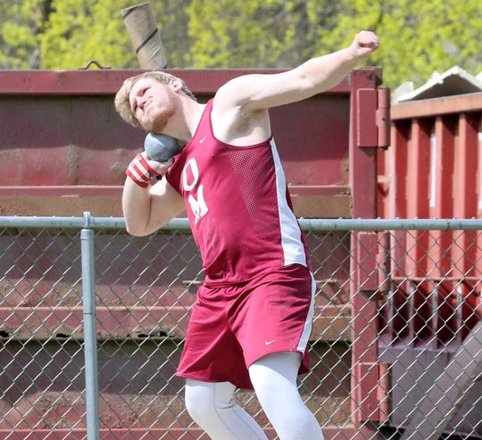 Zach Elliott of Odessa-Montour competes in the shot put at the Waite-Molnar Invitational on April 27, 2019 at Elmira's Ernie Davis Academy.