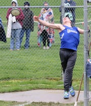 Holton Ike of Horseheads competes in the discus at the Waite-Molnar Invitational on April 27, 2019 at Elmira's Ernie Davis Academy.