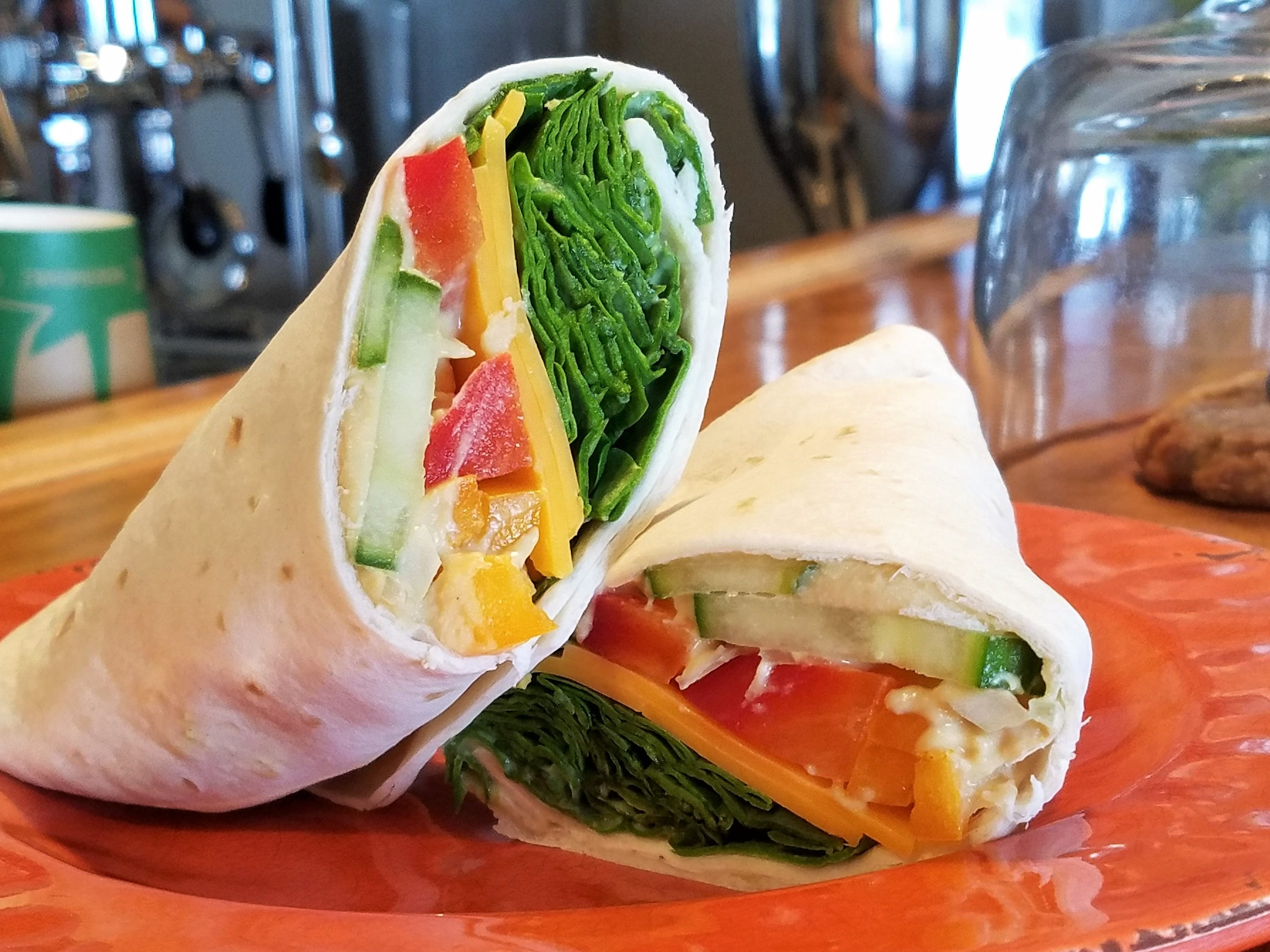 A vegetable and cheese wrap at La Forêt inside Cycling Solutions in Newburgh.