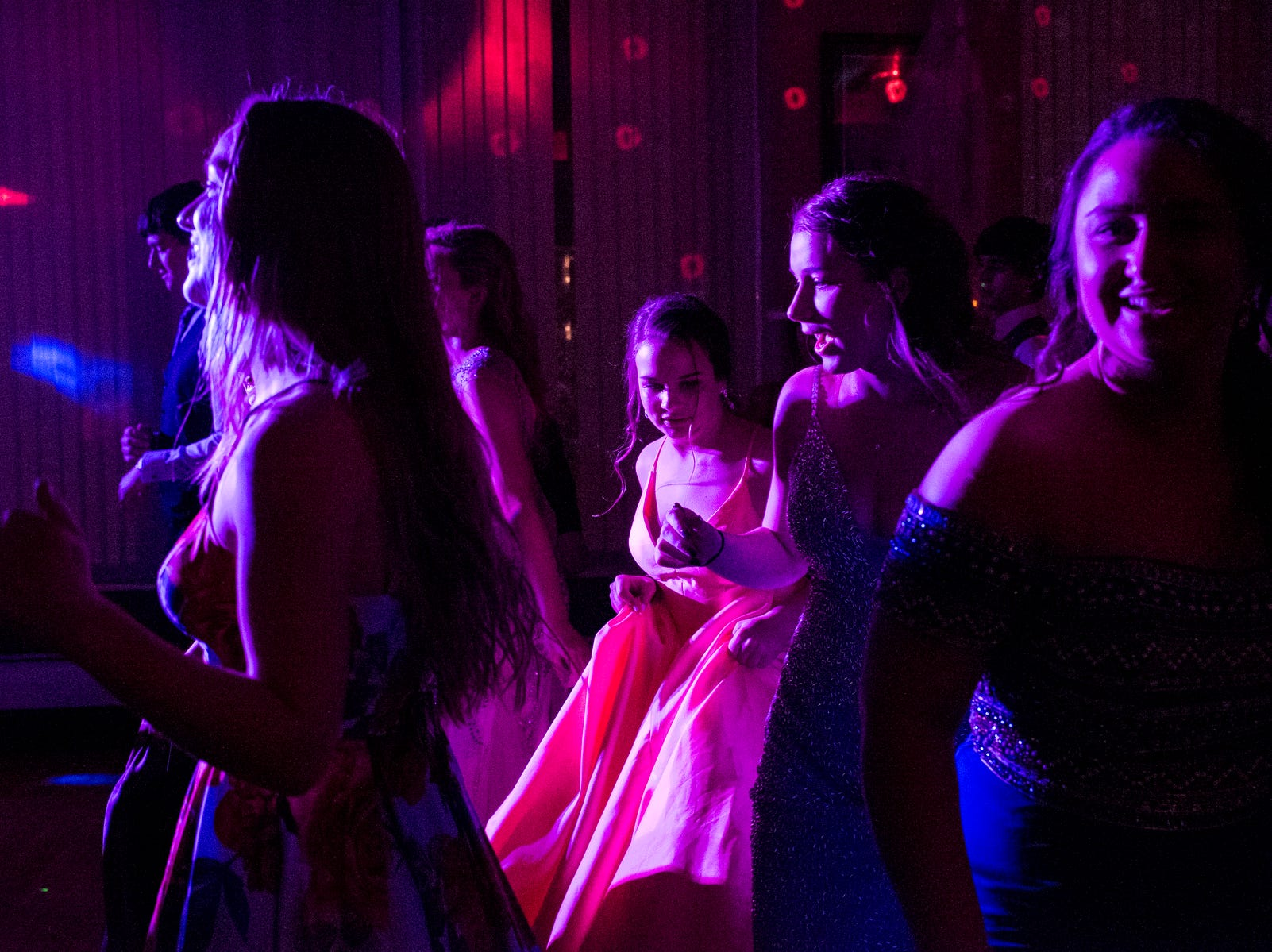 Students dance the night away during Evansville Day School's prom held at the Hadi Shrine Banquet Hall in downtown Evansville, Ind., Saturday, April 27, 2019.