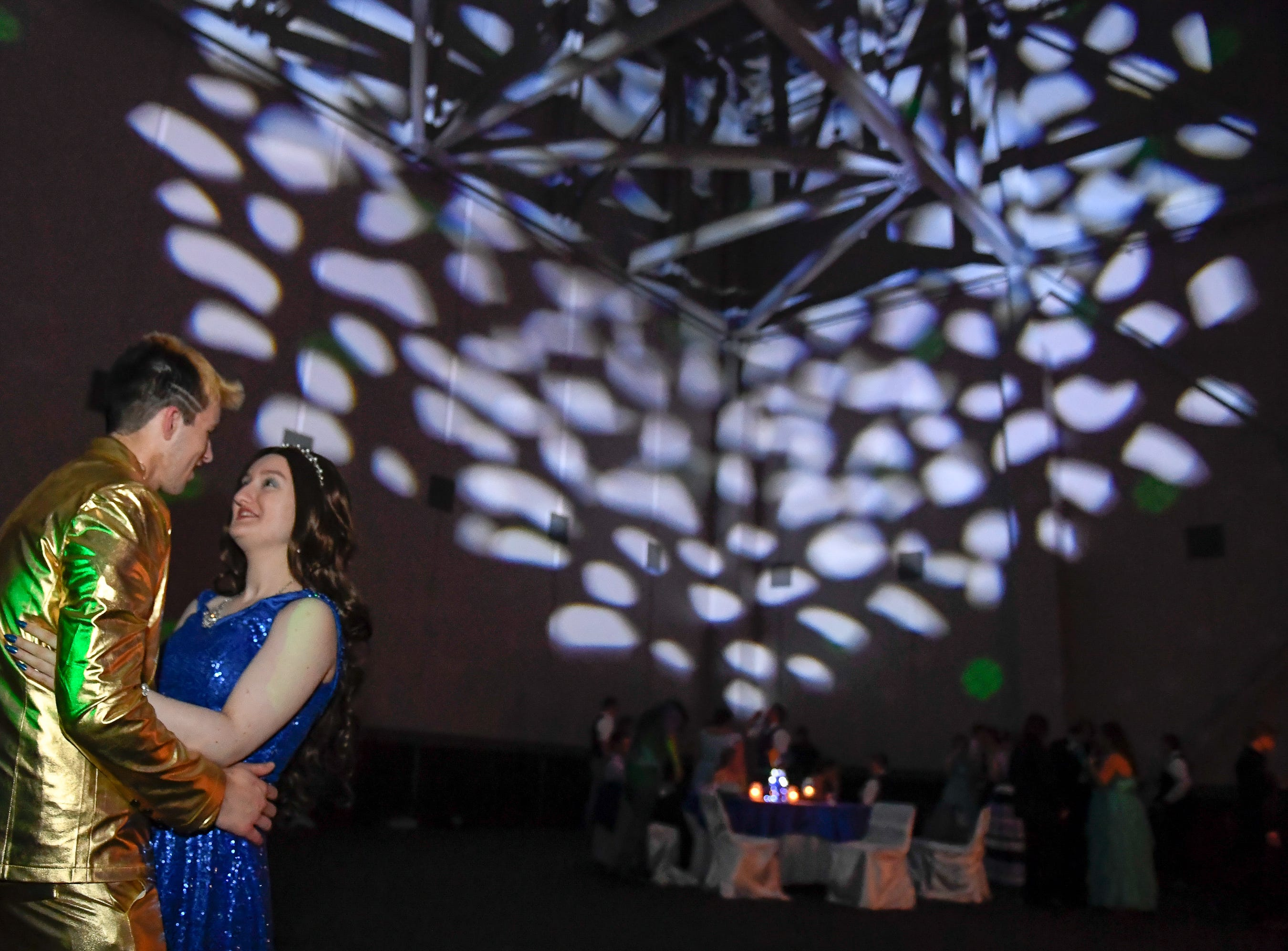 Austin Ryor and Megan McCrea dance at the Boonville High School prom, held at the Old National Events Center Plaza Saturday, April 27, 2019.