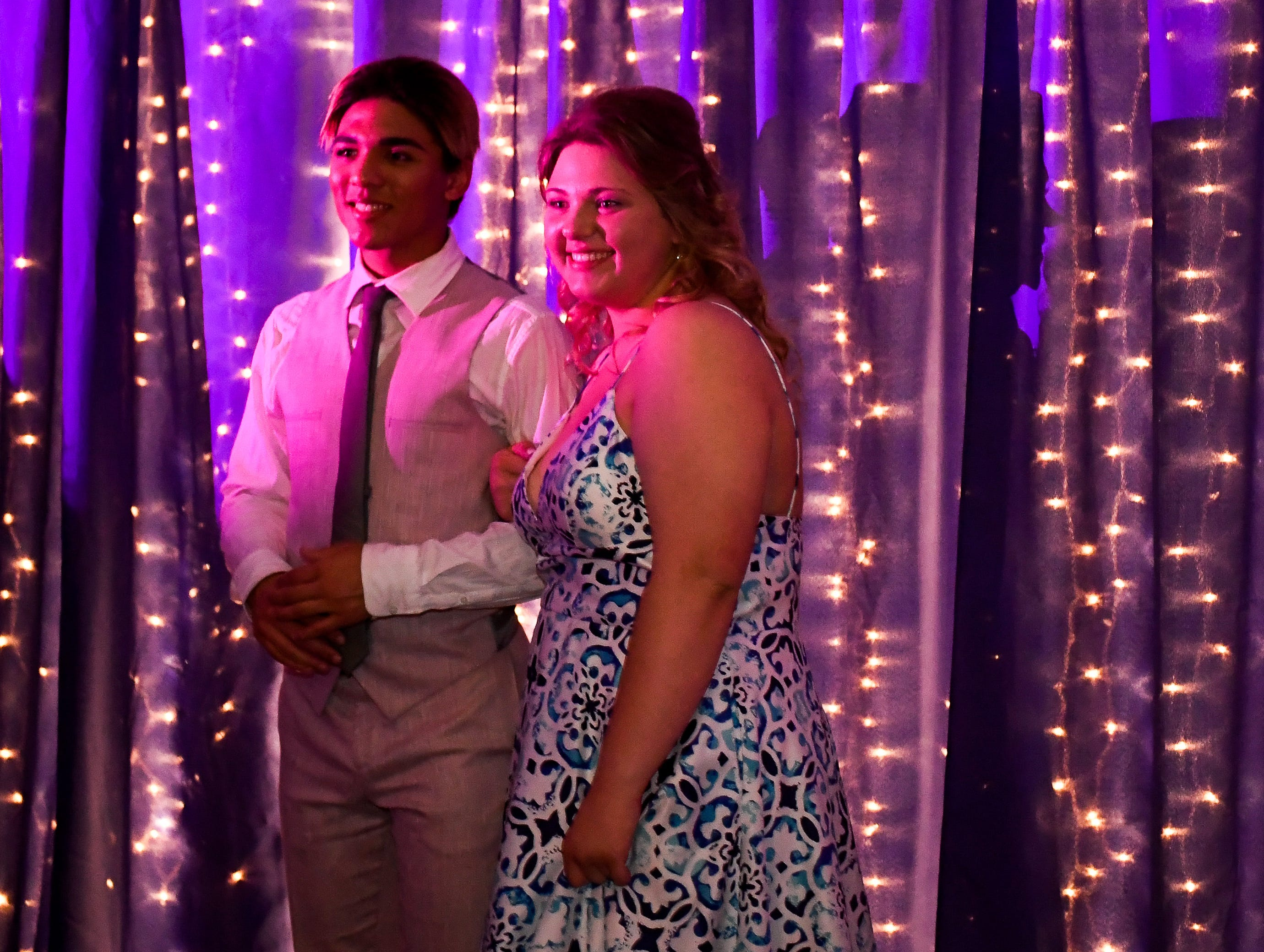 Nathan Schaefer and Ashlynn Downs get their picture taken at the Boonville High School prom, held at the Old National Events Center Plaza Saturday, April 27, 2019.