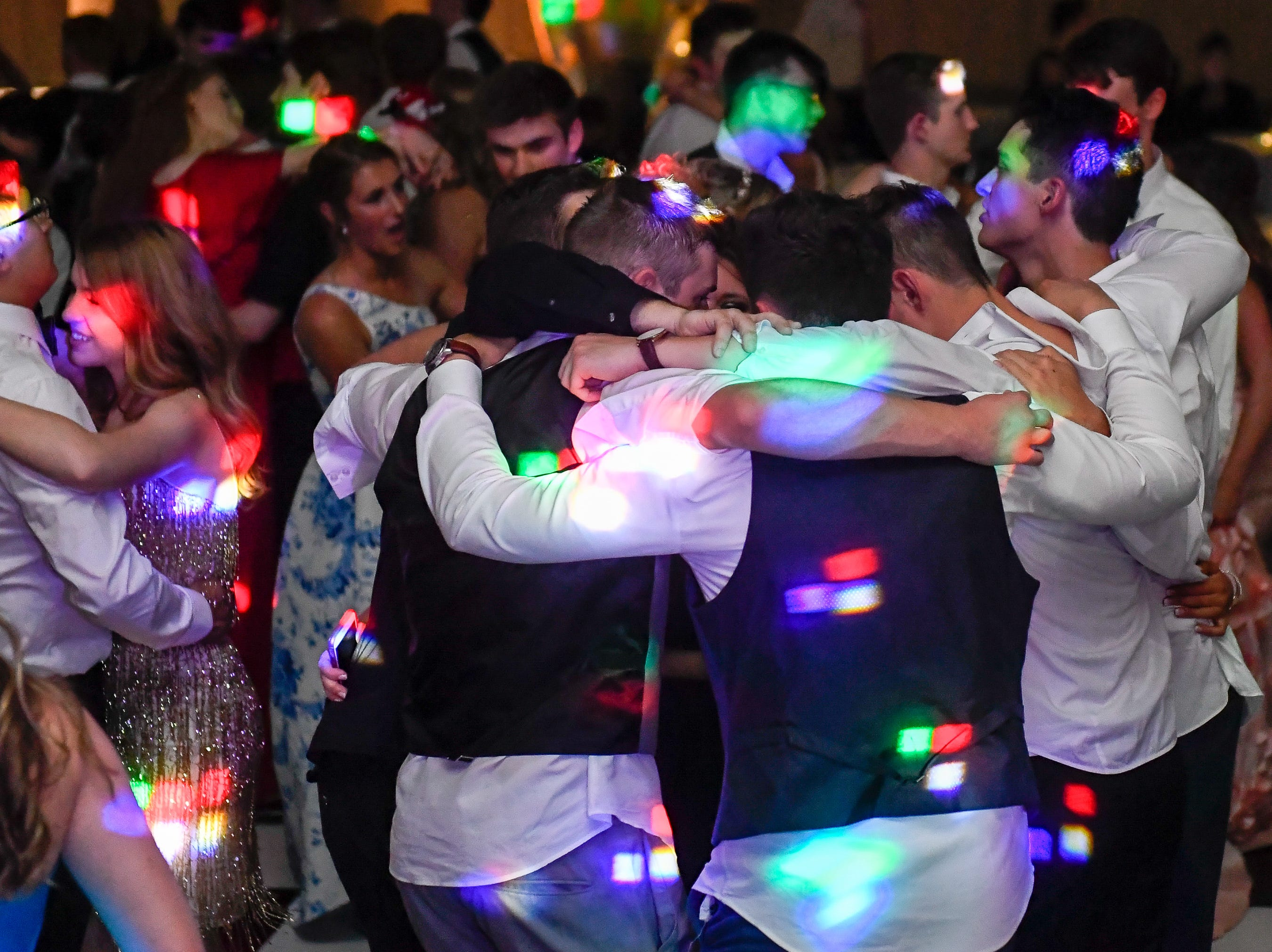 Dance floor action at the Memorial High School prom, held at the Old National Events Center Plaza Saturday, April 27, 2019.