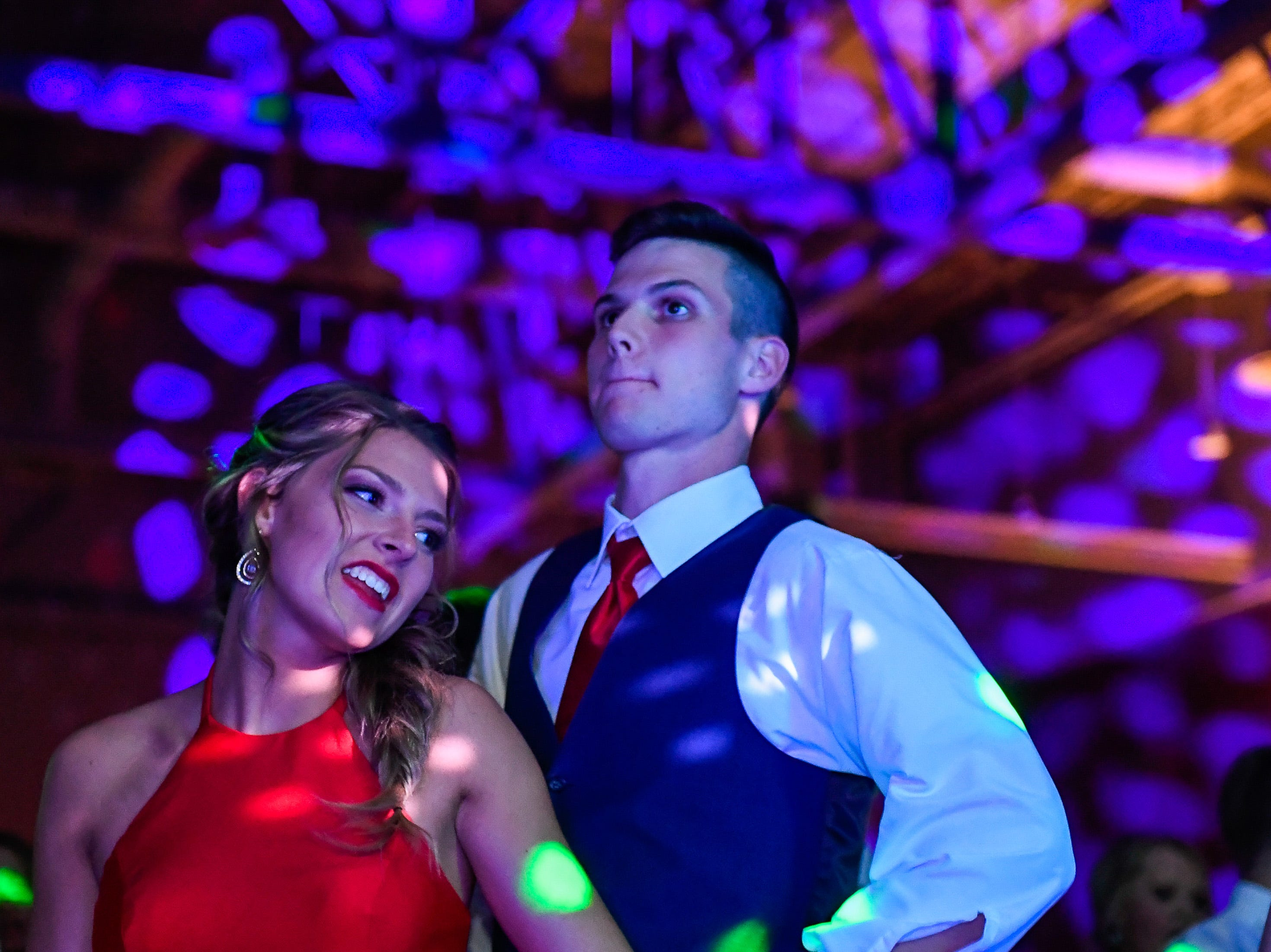 Ramey Wilder and Rylan Hicks dance at the Boonville High School prom, held at the Old National Events Center Plaza Saturday, April 27, 2019.