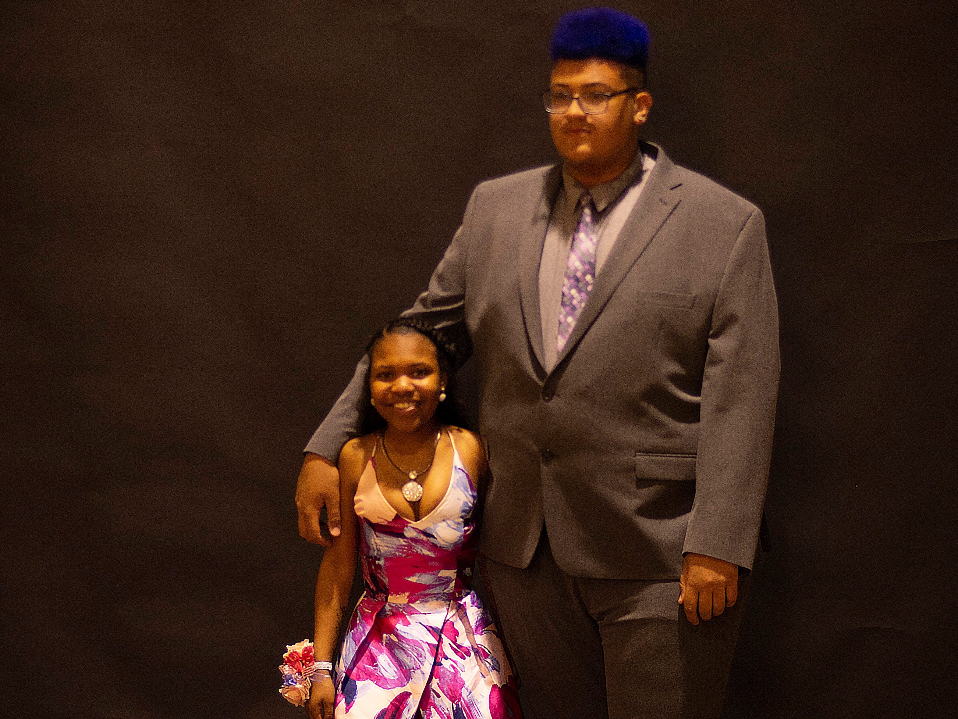 Na'brisha Howard and James Peaches pose for their prom picture at the Harwood Career Prep prom Saturday night.