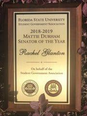 Rachel Glanton was the first recipient of the Mattie Durham Senator of the Year award.