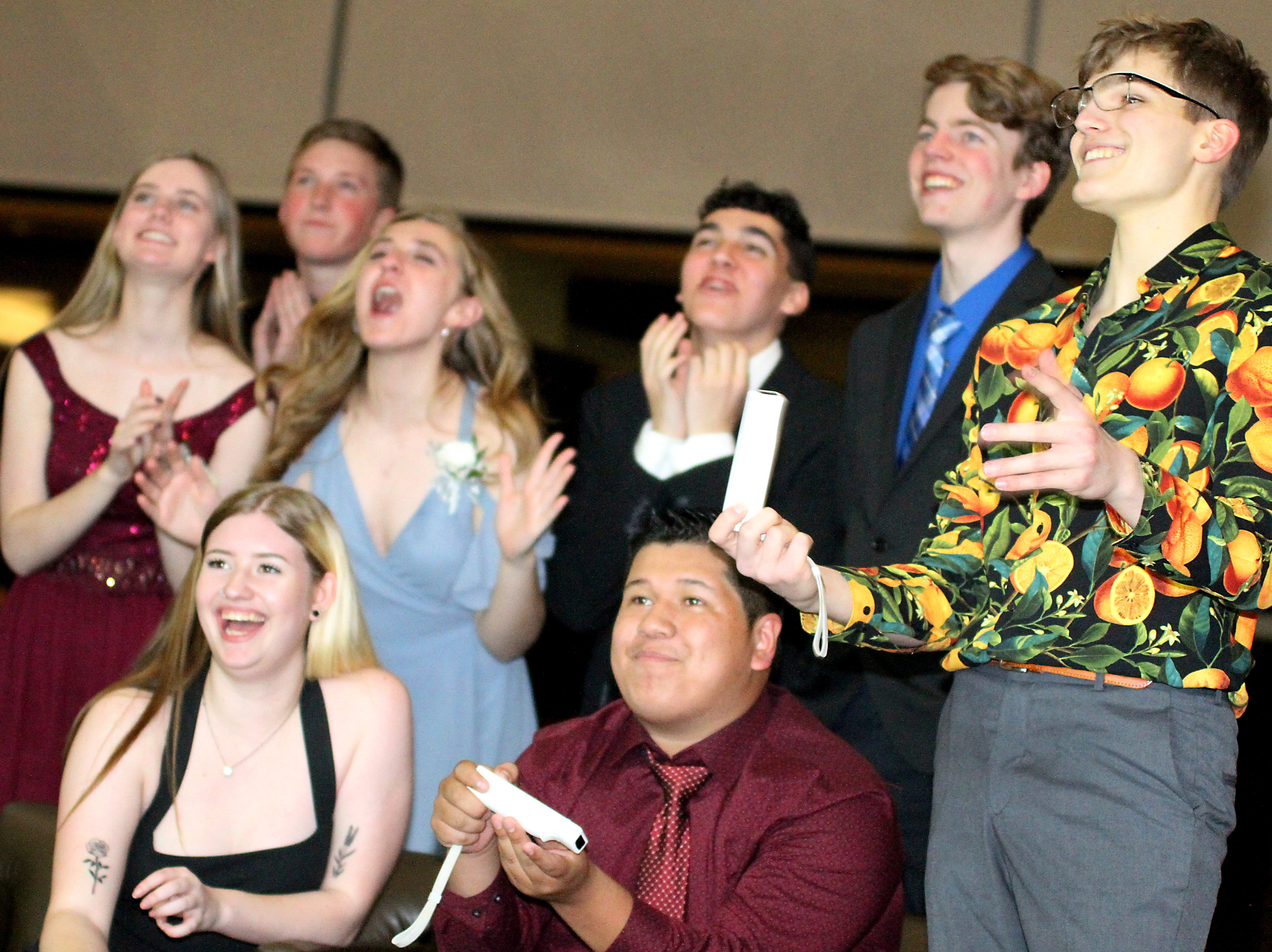 Joel Blocker / For the ColoradoanFort Collins High School students enjoy some video games in lounge area during the LambkinsÕ school prom held at Canvas stadium Saturday night.