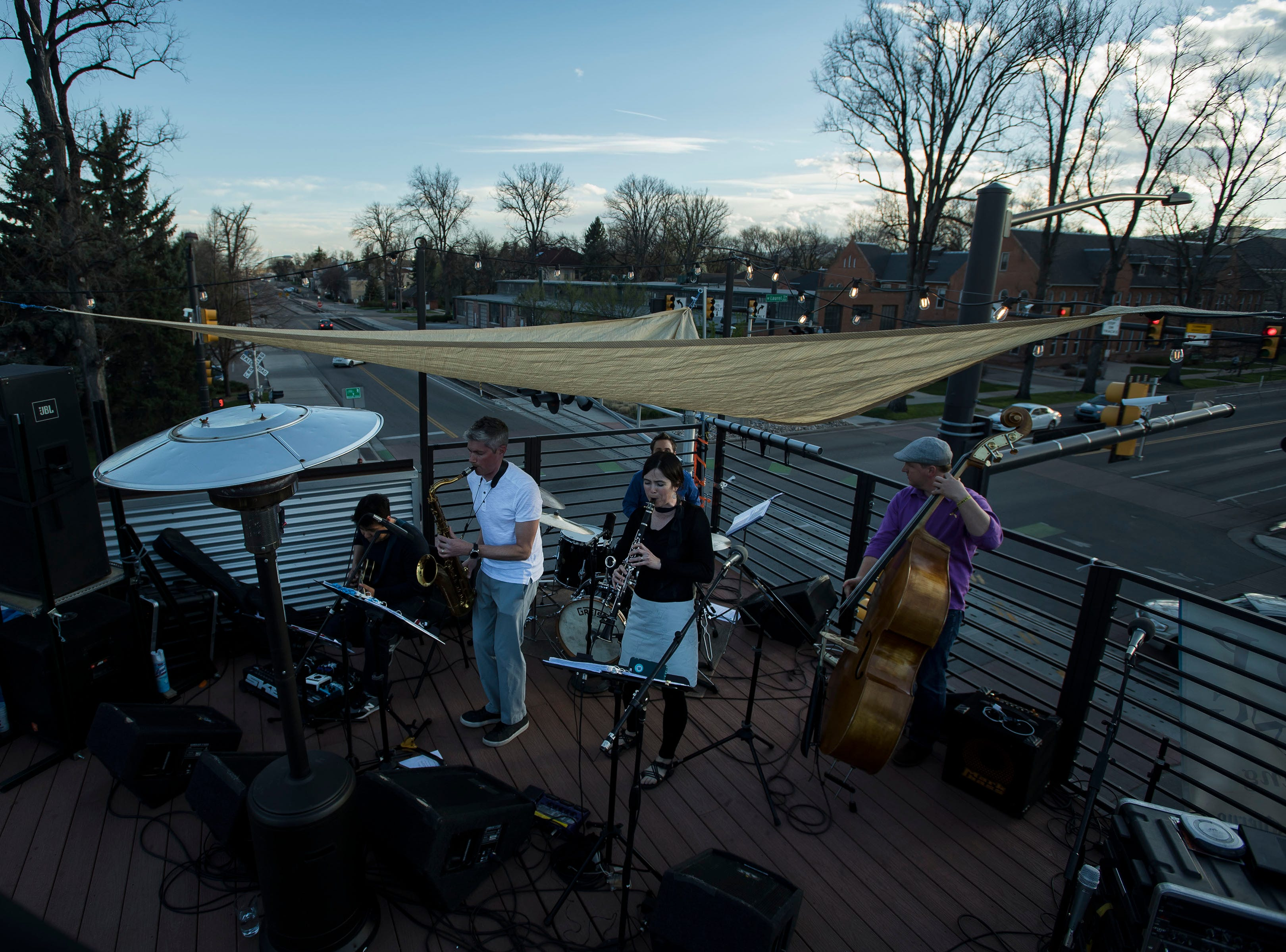 Big Brooklyn plays at the rooftop patio at Metro Urban Food & Booze during the FoCoMX XI music festival on Saturday, April 27, 2019, in Fort Collins, Colo.