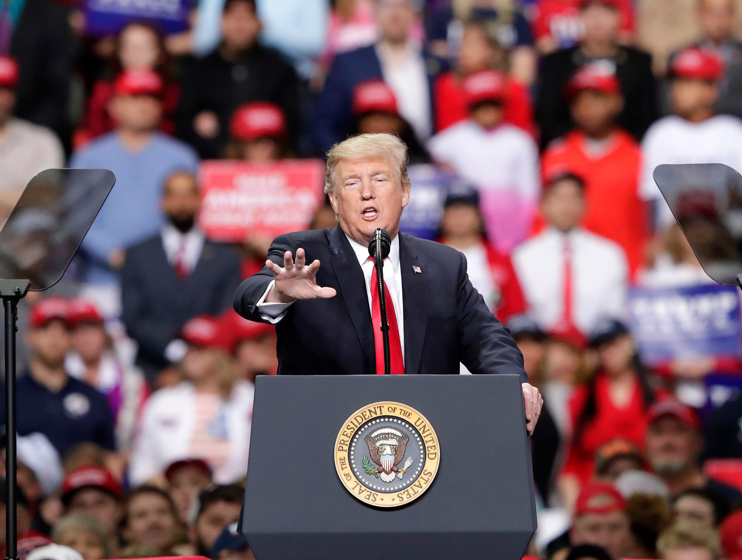 President Donald J. Trump speaks during a Make America Great Again Rally on Saturday, April 27, 2019, at the Resch Center in Green Bay, Wis.