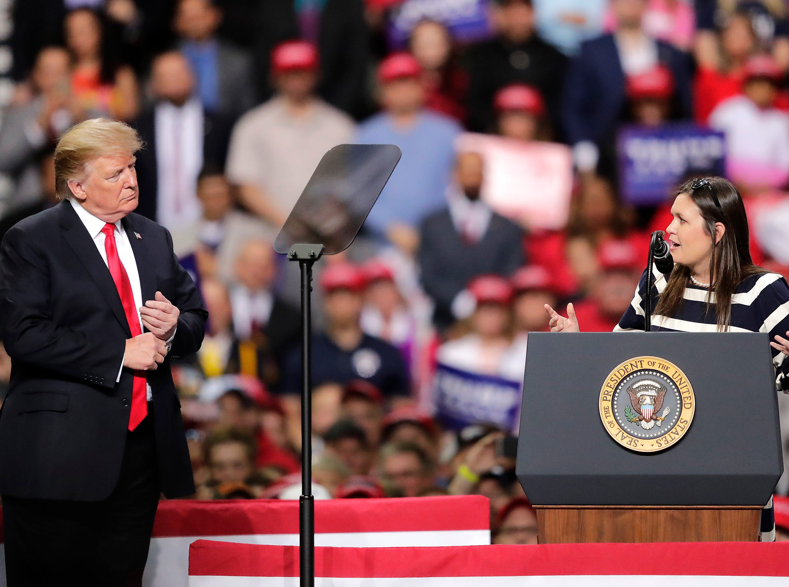 White House Press Secretary Sarah Sanders takes the stage with President Donald J. Trump during a Make America Great Again Rally on Saturday, April 27, 2019, at the Resch Center in Green Bay, Wis.