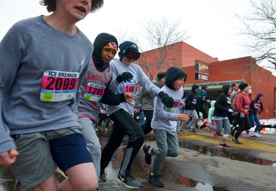 The start of the Ice Breaker Road Race 1-mile run, Sunday afternoon in downtown Great Falls.