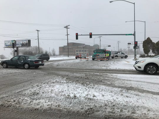 Snow was falling heavy in Great Falls Sunday morning.