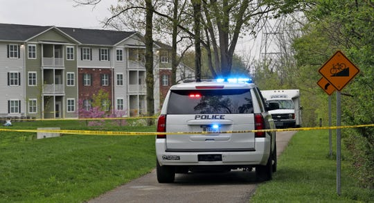 Investigation continues at the scene behind the Quail Run Apartments and the Zionsville Rail Trail where a body was found after 7am, Sunday, April 28, 2019.  This is being investigated as a homicide.