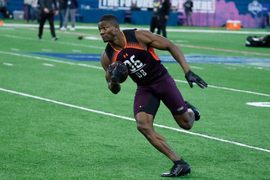 Mar 4, 2019; Indianapolis, IN, USA; Temple defensive back Rock Ya-Sin (DB36) goes through workout drills during the 2019 NFL Combine at Lucas Oil Stadium.