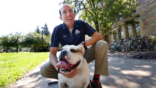 """Michael Kaltenmark, Butler University's director of external relations and caretaker for Butler Blue III known as """"Trip,"""" needs a kidney."""