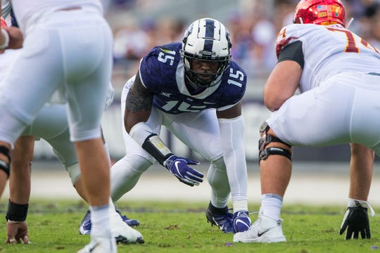 Sep 29, 2018; Fort Worth, TX, USA; TCU Horned Frogs defensive end Ben Banogu (15) in action during the game against the Iowa State Cyclones at Amon G. Carter Stadium.