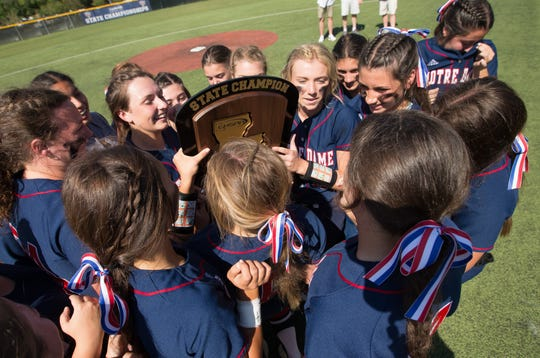 The Notre Dame softball team gathers around the LHSAA Division III Softball State Championship trophy Saturday. The Lady Pios defeated Holy Savior Menard, 7-3, to win the state championship for the second consecutive year.