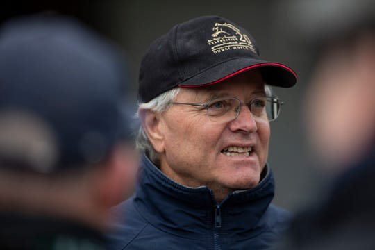 Trainer Bill Mott was all smiles following morning workouts by his Kentucky Derby horses Country House and Tacitus. April 28, 2019.