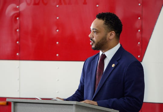 At-Large Mansfield City Councilman Don Bryant speaks at the Workers' Memorial Day Dedication at the Mansfield Fire Station No. 4 on April 28, 2019.